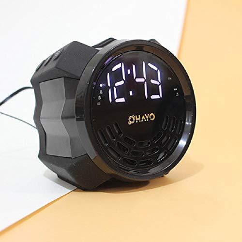 FPRW Reloj Despertador con repetición Luminosa, Reloj Despertador Digital Nocturno con función de Radio, Reloj de Escritorio para Estudiantes, Negro