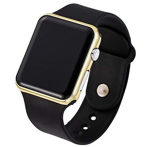 GKXAZ Männer Sport-beiläufige LED Uhren Herren-Digitaluhr-Mann-Armee Militär Silikon-Armbanduhr-Uhr (Color : Black Gold)