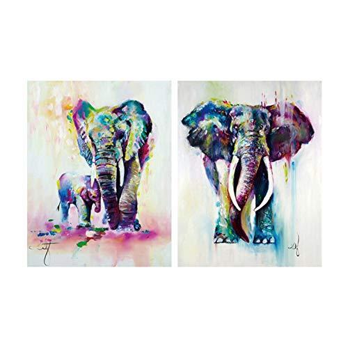 ZSDGY Pintura De Inyección De Tinta De Dos Cuadros, Pintura Al óleo con Dos Elefantes De Animales, Mural De Color Abstracto (sin Marco) 40 * 50 Cm * 2 Piezas