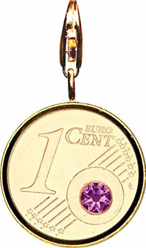 DER BESONDERE GLÜCKSBRINGER - The Coin - VERGOLDET (24 Karat) - mit angeschweisstem Karabiner - JULI Geburtsstein / Monatsstein - RUBIN Farbe SWAROVSKI KRISTALL