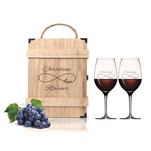 FORYOU24 2 Leonardo Weingläser mit Holz Geschenkbox und Gravur Endless Geschenkidee zur Hochzeit oder Verlobung Wein-Gläser graviert