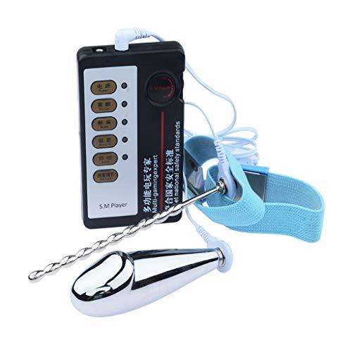 WENWING Electric Shock Pulse Electro Amal Plug Ring Host Cable Set Stick Beads Probe Nerve Stimụlaṫọr B'ut.t Plug Pṙosṫaṫe Massager P Ǵ Ѕṗọṫ Stopper Training Kit Sxx Toys