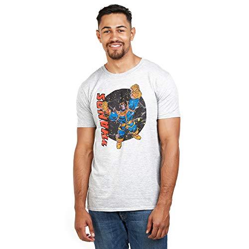 Marvel Herren Warrior Thanos T-Shirt, Grau (Grey Heather HGY), (Herstellergröße: Large)