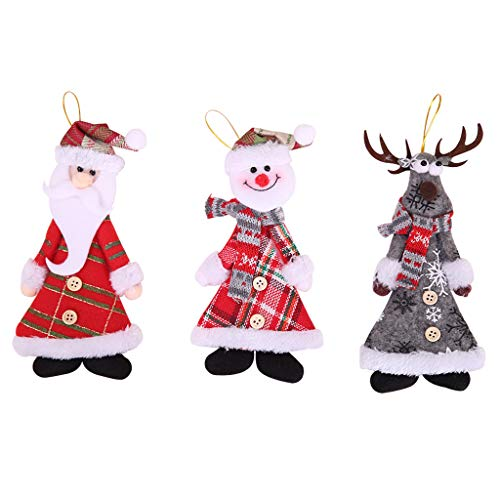 Xurgm 3 x Santa Claus Snowman Elk Christmas Doll Christmas Pendant Christmas Decoration Christmas Tree Decoration for Hanging in the Christmas Decoration