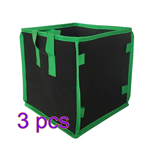 Sugeryy Quadratische Wachstumsbeutel, Dicker Stoffbeutel mit Griffen für Innen- und Außenbereich, 5 Stück