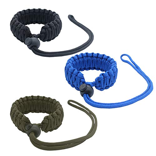 Hukado Universal Paracord Camera Wrist Strap,Nylon Braided Adjustable Camera Hand Grip Strap for Camcorder,Binoculars,Nikon/Canon/Sony/Panasonic/SLR/DSLR Digital Cameras, Black/Blue/Army Green(3 Pack)