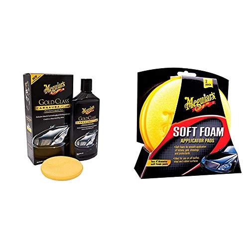 Meguiar\'s G7016EU Gold Class Carnauba Plus Premium Liquid Wax Autowachs, 473ml & X3070 Soft Foam Applicator Pads Auftragsschwamm, 2-er Pack