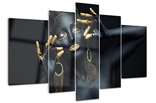 Tulup Cuadro de Cristal Pintura sobre Vidrio Acrilico 170x100cm Imagen Gráfica Impresión de 5 Piezas Decoracion de Pared Moderno Vidrio Acrilico Cristal - La mujer de negro