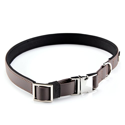 PetTec Hundehalsband aus Trioflex™, Slim Edition, schmales Design, Polsterung, Wasserabweisend, Größen (Gr. S: 30-40 cm, Braun)