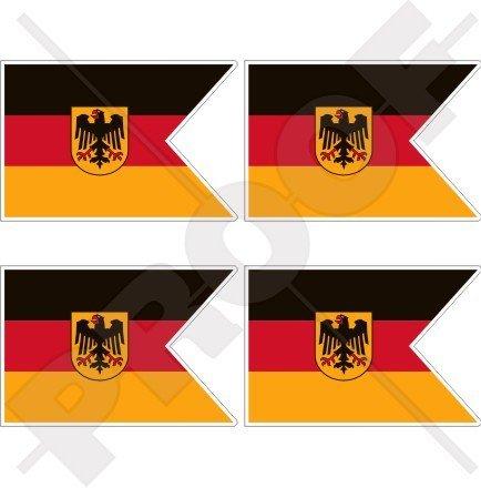 DEUTSCHLAND Deutsche Marine Fähnrich Marine Flagge 50mm Auto & Motorrad Aufkleber, x4 Vinyl Stickers