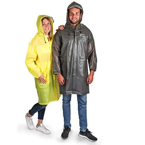 Cedelli®Rainwear | Regenmantel für Damen & Herren | L Grau | Regenjacke, Regenponcho, Regencape, Wasserdicht, Atmungsaktiv mit Taschen und Schirmkappe