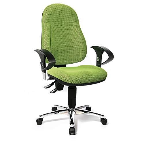 Topstar Wellpoint 10 Deluxe, ergonomischer Bürostuhl, Schreibtischstuhl, Muldensitz, inkl. höhenverstellbare Armlehnen, Stoffbezug apfelgrün