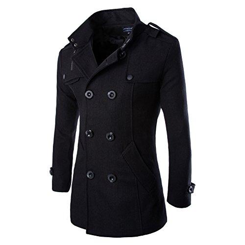Vktech® Abrigo chaqueta de lana para hombres, doble abotonadura, para invierno, negro, X-Large