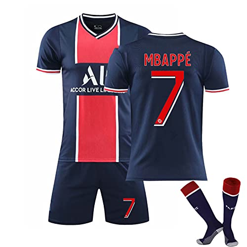 HRZHYHB Fußball Uniform Anzüge Erwachsene Kinder Trikot Fußball Uniform Set Sportanzug T-Shirt Shorts 10# Neymar 7# Mbappé Weiche Atmungsaktive Trainingsbekleidung