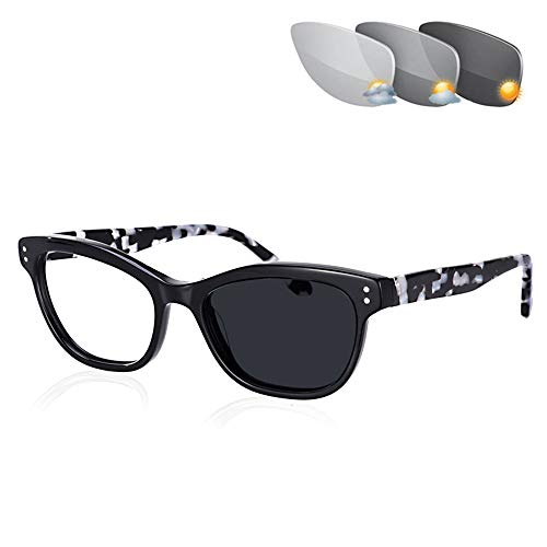 Womens Transition Photochromic Reading Zonnebrillen Outdoor Cat Eye Full Frame Lezers UV400 Hars Lenzen Met Dioptrie 1,00-3,00,Black,+ 1.00