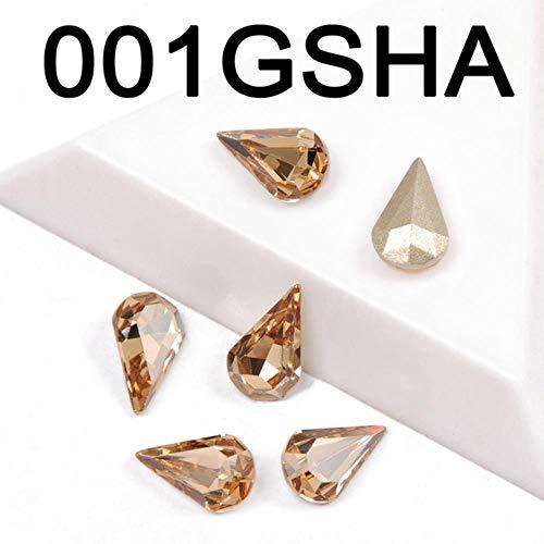 Materiaal van gekleurd kristal, op strassstenen van glas en pera-kristallen met puntige stenen, om zelf te maken, jurk, handtassen, schaduwtas, goudkleurige oogschaduw, 6X10Mm-21Pcs