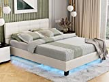 IKIFLY Modern Queen Size LED Bed Frame - White Upholstered Faux Leather Platform Bed with LED Lights Under Bed - Solid Wooden Slats Support - Easy Assembly - White / Queen