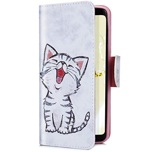 Uposao Kompatibel mit Galaxy S7 Edge Handytasche Handy Hüllen Flip Case Cover Schutzhülle Brieftasche Ledertasche Wallet Lederhülle Etui Bookstyle Klapphülle Kartenfächer,Cartoon Katze