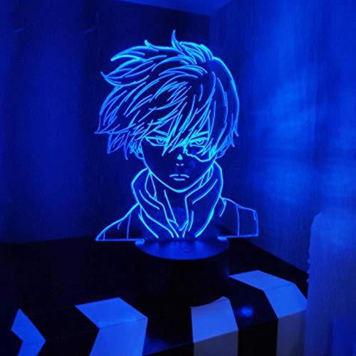 Luzes noturnas 3D para meninos e meninas LED lâmpada noturna Anime My Hero Academia Shoto Todoroki design de rosto para crianças crianças meninos quarto lâmpada LED luz noturna para crianças 16 cores controle remoto