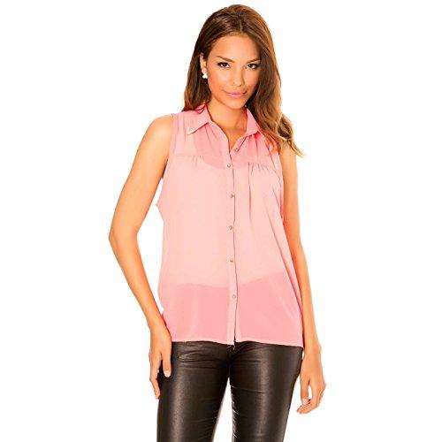 Miss Wear Line - blouse koraal met goudkleurige knopen