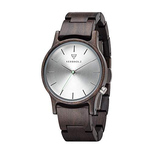 Kerbholz Holzuhr – Classics Collection Gitta Analoge Quarz Uhr Für Damen, Gehäuse Und Verstellbares Armband Aus Massivem Naturholz, Ø 35Mm
