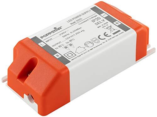 Poppstar LED Trafo Transformator 230V AC / 12V DC 1,25A 15W (Watt)