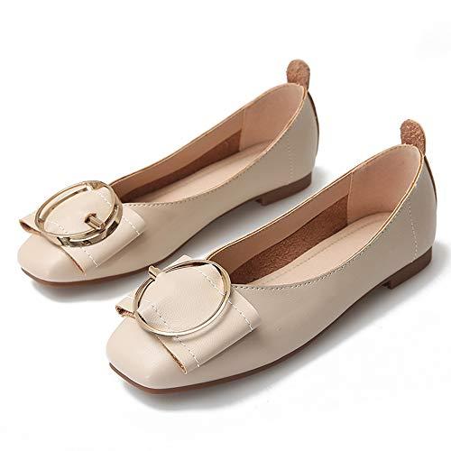 Yhjmdp Zapatos Planos Informales para Mujer, Zapatos Planos Antideslizantes con Punta Cuadrada, Maternidad Zapatos,Apricot,33