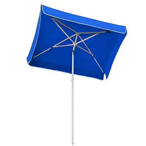 Froadp Strand Sonnenschirm UV 50+ Sonnenschutz Höhenverstellbar Gartenschirm mit Zinklegierung Abschließbare Neigefunktion(185×140cm, Blau)