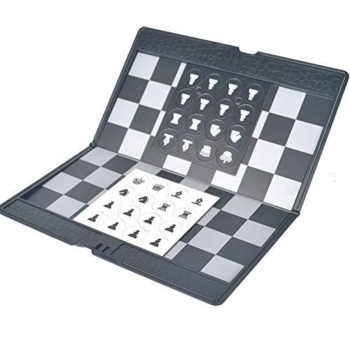 Yingm Internationales Schachbrett Magnetic Chess Set Faltbares Schachbrett Tragbare Reise Schach-Brettspiel-Set Mit Spiel Piece Speicher Slot Schachbrettspielset (Farbe, Size : 19.7 * 19.7cm)