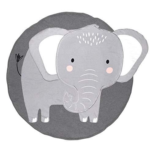 Quuy Kruipdeken voor kleine kinderen, rond, speelmat, zacht speelgoed, gymnastiekmatten, kinderkamerdecoratie, speelkussen, olifant patroon, diameter 95 cm