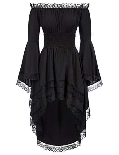 KANCY KOLE Women's Medieval Dress Long Sleeve Renaissance Costume Off Shoulder Pirate Dress (Black,S)