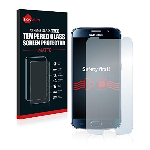 savvies Protection Verre Trempé Mat Compatible avec Samsung Galaxy S6 Protection Écran, Film Vitre - Dureté 9H, Anti-Reflets