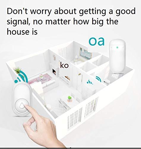 Draadloze deurbel voor thuis, super-afstandsgesprekken, spontane elektronische deurbel, met led-flitslichten, één voor één wit