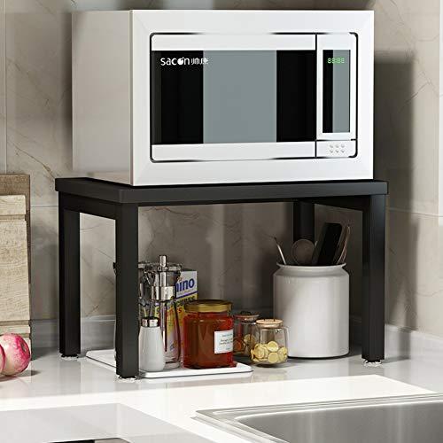 Einfach Küche Mikrowellen Regal Für Arbeitsplatte, Stahl Lager Holz Regale Nützlichkeit Steht Organisieren Multifunktions Bäcker Regal Spice Zähler Kabinett Metall Rahmen-d-schwarz 2-böden
