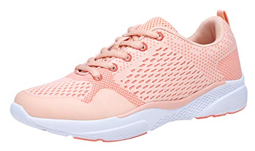 COODO Women's Athletic Shoes Casual Breathable Sneakers CD8005 (6 M US,New Pink)