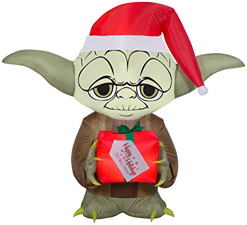 Yoda Holding A Present Star Wars Christmas Inflatable