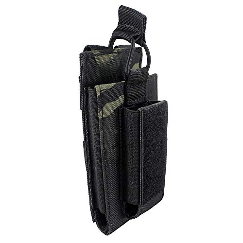 Depring Open-Top Single Mag Pouch for Rifle and Pistol Molle Elastic Kangaroo Magazine Bag with Front Loop Panel (Black Camo)