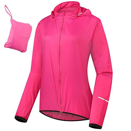 Beylore Fahrradjacke Damen Wasserdicht Atmungsaktiv, Frauen Laufjacke Rain Jacke mit Kapuze, Dünner Regenmantel Reflektierend Winddicht, Duschdichte Jacke,Rosa,AS: XXXL EU: L/XL
