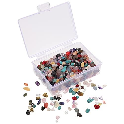 EXCEART 400 Piezas Cuentas de Piedra Natural Multicolor Piedras Preciosas Irregulares Piedras Curativas Piedras Sueltas Agujero de Cuentas Perforadas DIY para La Fabricación de Joyas de