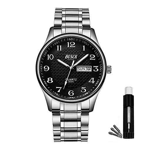 BOSCK Reloj analógico para hombreReloj de Pulsera de Moda Impermeable de Acero Inoxidable para Hombres Reloj empresarial de Cuarzo con Fecha y día automáticos, (Silver-Black)