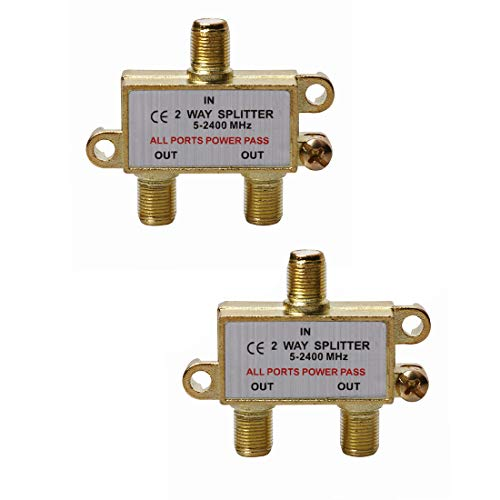 WEVZENEY 2-Way Coaxial Cable Splitter, 2.4 Ghz 5-2400 MHz, Works with STB TV, Satellite, High Speed Internet, Antenna and MoCA Network, Gold Plated Connectors, Corrosion Resistan,2-Pack