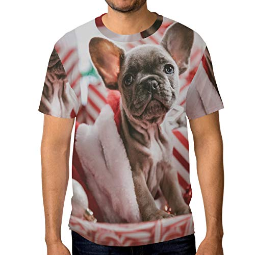 Double Joy for Men's T-Shirt Brindle French Bulldog Puppy Round Neck Short Sleeve Gift