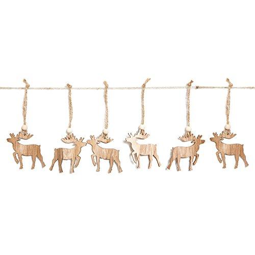 Logbuch-Verlag 6 HIRSCH Rentier Weihnachtsanhänger Weihnachtsbaumschmuck Holz Anhänger Weihnachtsdeko natürlich Geschenke verpacken Hänger mit Schnur