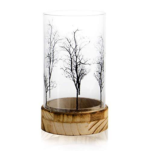 Portavelas diseño de árbol | Vela decorativa | Soporte de velas de vidrio y madera | Decoración de centro de mesa | Linterna de vidrio para velas | M&W