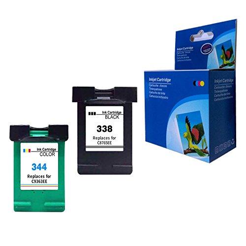 Gmoher Cartucho de Tinta Remanufacturado para HP 338344 C8765E / C8766E Compatible con Cartuchos de Tinta con HP PhotoSmart 2575, HP DeskJet 460/5740/6540/6620 (1 Negro, 1 Tricolor)