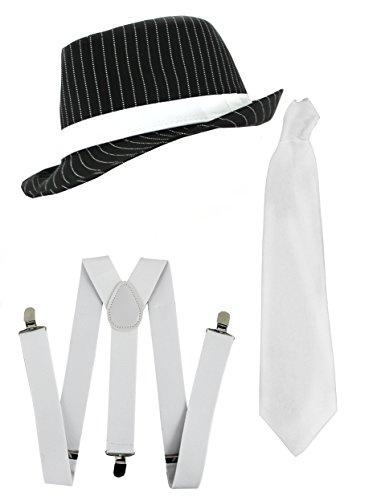 ILOVEFANCYDRESS Gangster-Set KOSTÜM ZUBEHÖR KOSTÜM Deluxe-Set WEIẞER NADELSTREIFEN-Trilby-Hut + Schwarze HOSENTRÄGER UND Krawatte Bande Gangster MÄNNER AL Capone