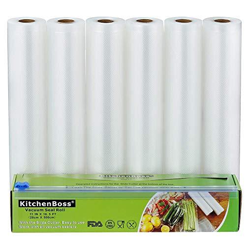 KitchenBoss Vakuumrollen mit Cutter-Box, 6 Rollen 28x500cm Folienrollen BPA-Frei für alle Vakuumierer, stark & reißfest & kochfest & wiederverwendbar Vakuumbeutel für Sous Vide