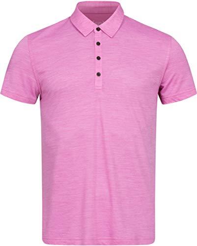 super.natural Herren Polo-Shirt, Mit Merinowolle, M EVERYDAY POLO, Größe: L, Farbe: Rosa meliert