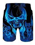 Loveternal Mens Blue Skull SwimmingTrunks Mesh Beach Shorts...