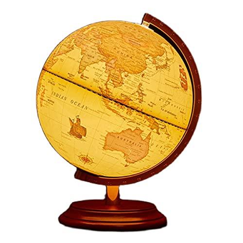 Mappamondo Diametro Vintage da 9,8 Pollici Diametro Globo Desktop Desktop Globes Illuminato Globo del Mondo con Supporto in Legno Globi geografici (Color : World Globe with Light)